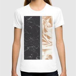 Cafe Au Lait Flower Meets Gray Black Marble #5 #decor #art #society6 T-shirt