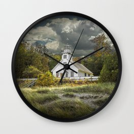 Old Mission Point Lighthouse in Early Autumn Wall Clock