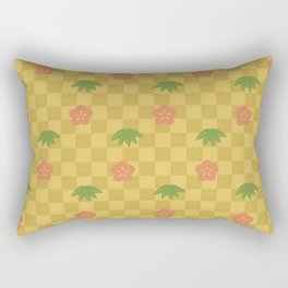 Classic Japanese Art Pattern with Plum Flower and Bamboo Leaves on Gold Checkerboard Rectangular Pillow