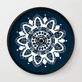 Simple white mandala on navy blue Wall Clock