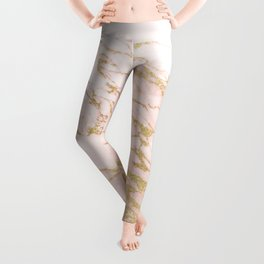 Blush pink abstract gold glitter marble Leggings
