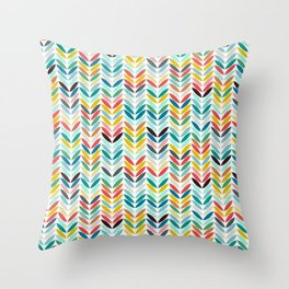 llama leaf arrow chevron white Throw Pillow