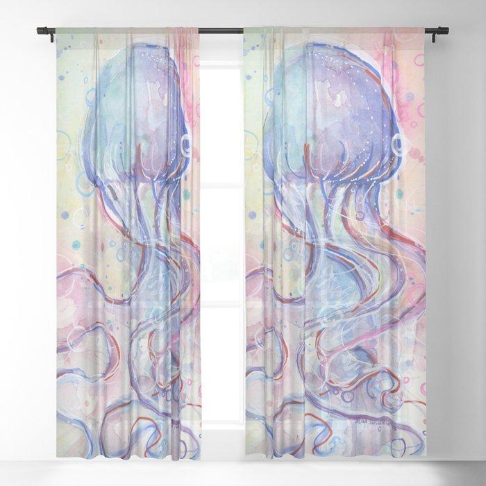 Jellyfish Watercolor Sheer Curtain