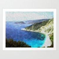 greek Art Prints featuring Greek coastline by Brian Raggatt