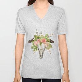 Bohemian bull skull and antlers with flowers Unisex V-Neck