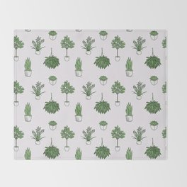 House Plants Pattern Throw Blanket
