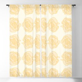 Yellow Rose Pattern Blackout Curtain
