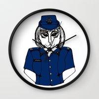 police Wall Clocks featuring Police Kitty by Sofy Rahman