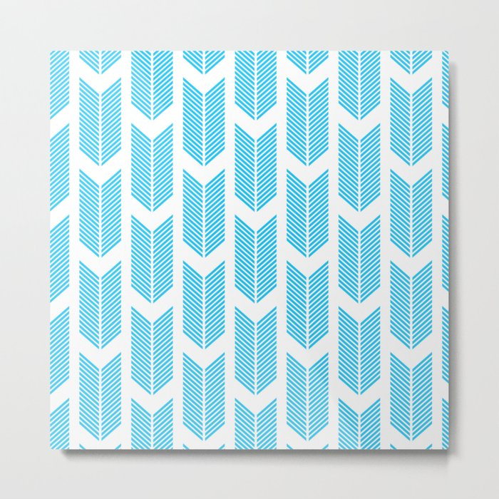 Simple Aqua and white arrow chevron - for your summer on #Society6 Metal Print