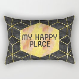 GRAPHIC ART GOLD My happy place | blac Rectangular Pillow