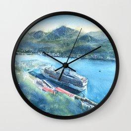 Watercolor Art Cruise Ship of Juneau Alaska Wall Clock
