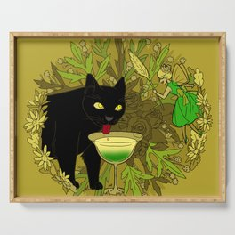 cat and green milk Serving Tray