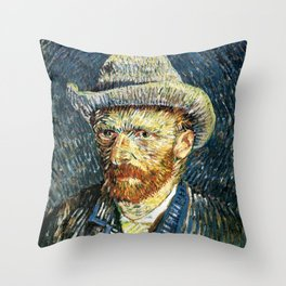 Vincent van Gogh Self Portrait With Felt Hat Throw Pillow