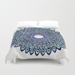 Peacock Mandala – Navy & Gold Duvet Cover