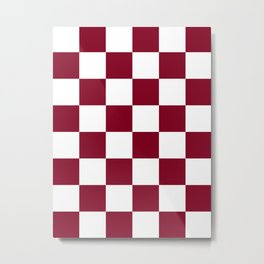 Large Checkered - White and Burgundy Red Metal Print