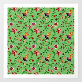 Bright floral seamless pattern on green background Art Print