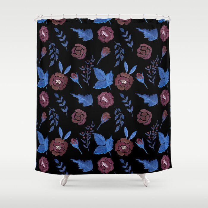 Watercolor floral red roses print on black Shower Curtain