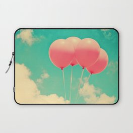 Balloons in the sky (pink ballons in retro blue sky) Laptop Sleeve
