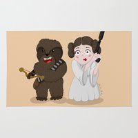 chewbacca Area & Throw Rugs featuring Chewbacca Princess Leia by Paula Benítez