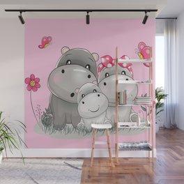 adorable hippos Wall Mural