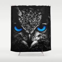 Blue eyes owl Shower Curtain