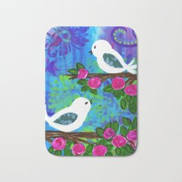 Girl's Room Artwork, Two White Birds with Pink Flowers, Sweet and Whimsical Art Bath Mat