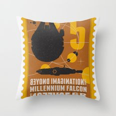 Beyond imagination: Millenium Falcon postage stamp  Throw Pillow