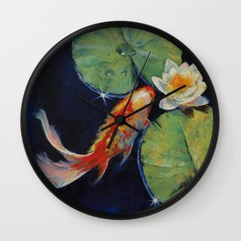 Koi and White Lily Wall Clock