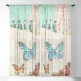 SURREAL BUTTERFLIES Sheer Curtain