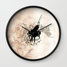 Music, piano with key notes and clef Wall Clock