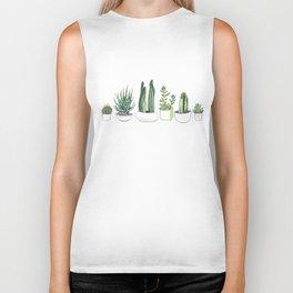 Watercolour Cacti & Succulents Biker Tank