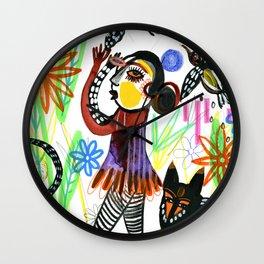 Woman Animals Nature Wall Clock