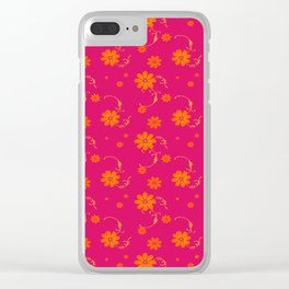 Orange Daisy Flowers on Hot Pink Background Clear iPhone Case