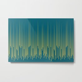 Dark Yellow Minimal Frequency Line Art on Tropical Dark Teal Inspired by Sherwin Williams 2020 Trending Color Oceanside SW6496 Metal Print
