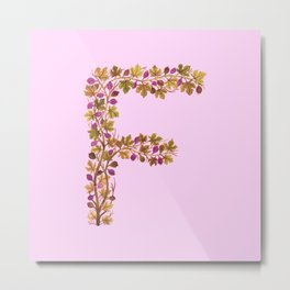 Leafy Letter F Metal Print