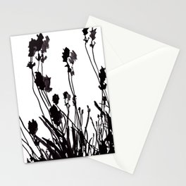 Lavendel Field Flower Abstract Black and White Markers Stationery Cards