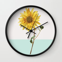 Sunflower Mid Century Modern Retro Botanical Yellow Flower Vintage Wall Clock