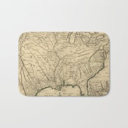 Map of America from Rio Grande River to Hudson River (1718) Bath Mat