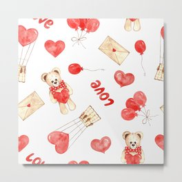 love watercolor pattern with teddy bear, hearts and balloons Metal Print