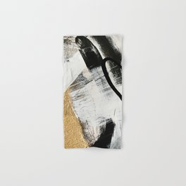 Armor [9]: a minimal abstract piece in black white and gold by Alyssa Hamilton Art Hand & Bath Towel