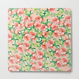 Botanical red green coral watercolor floral roses pattern Metal Print