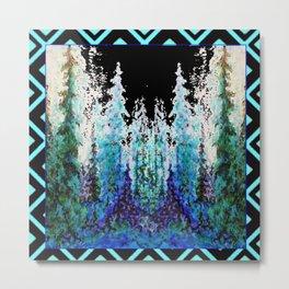 Western Turquoise Modern Art Mountain Trees Blue  Art Metal Print