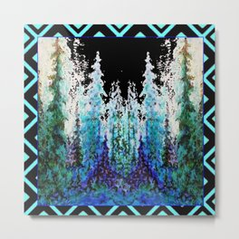 Western Turquoise Modern Art Mountain Trees Blue  Art Metal Print