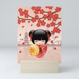 Japanese Red Sakura Kokeshi Doll Mini Art Print