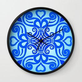 HUNGARIAN ORNAMENTS - Femininity mandala in blue Wall Clock