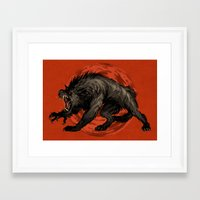 werewolf Framed Art Prints featuring werewolf by panthervogel