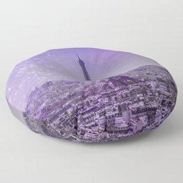 Paris Mon Amour Purple Mixed Media Art Floor Pillow