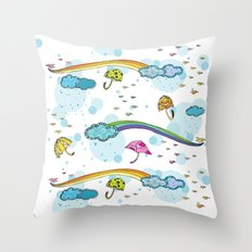 Rainbows and Raindrops Throw Pillow