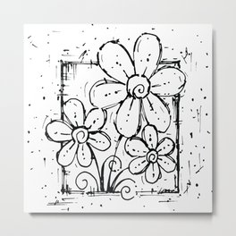 Scribble Doodle Flowers No.5A by Kathy Morton Stanion Metal Print