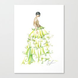 Green Ruffles Canvas Print